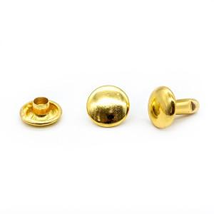Хольнитены (заклепки) двусторонние, 7 х 12 мм, цвет золото, 10 шт