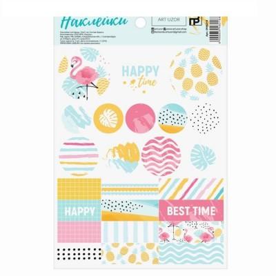 Наклейки-паттерны бумажные «Фламинго», 14 × 21 см