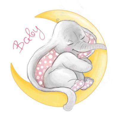 Термонаклейка Baby Elephant & Moon, 14 х 14 см
