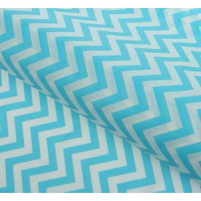 Бумага упаковочная тишью Зигзаги, цвет бело-голубой, 50 х 66 см, 1 шт