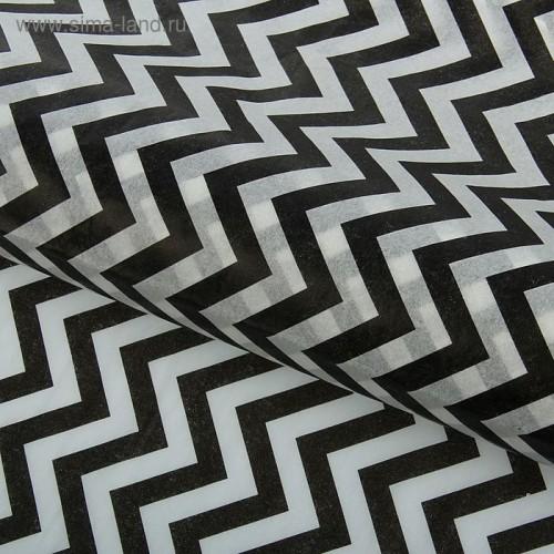 Бумага упаковочная тишью Зигзаги, цвет черно-белый, 50 х 66 см, 1 шт
