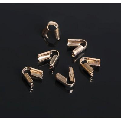 Зажим-наконечник для резинки, (набор 2 шт), цвет золото, 3,5 мм