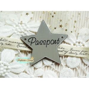 "Бирка пластиковая для обложки на паспорт ""Звезда"" ENG, цвет серебро, 60*60 мм"