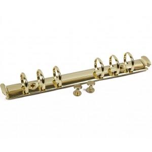 Кольцевой механизм с триггером и винтами на 6 колец, цвет золото, 22 см, диам. кольца 19 мм