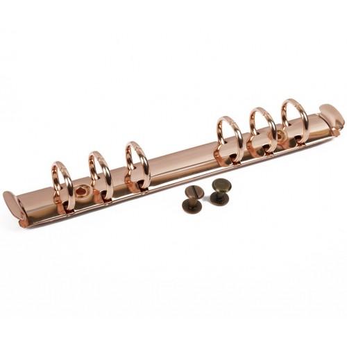 Кольцевой механизм с триггером и винтами на 6 колец, цвет розовое золото, 22 см, диам. кольца 19 мм
