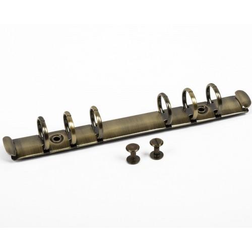 Кольцевой механизм с триггером и винтами на 6 колец, цвет под медь, 17,5 см, диам. кольца 19 мм
