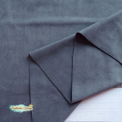 Замша искусственная двусторонняя, цвет тёмно-серый, 50*147 см