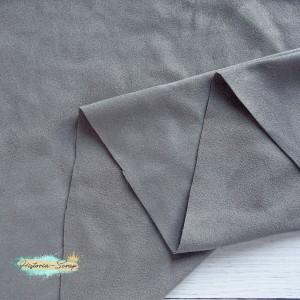 Замша искусственная двусторонняя, цвет светло-серый, 25*37 (35) см