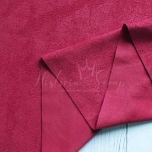 Замша искусственная двусторонняя, цвет малиново-красный, 25*73 (75) см