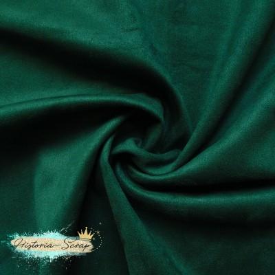 Замша искусственная (образец), цвет темно-зеленый, 6 х 7 см