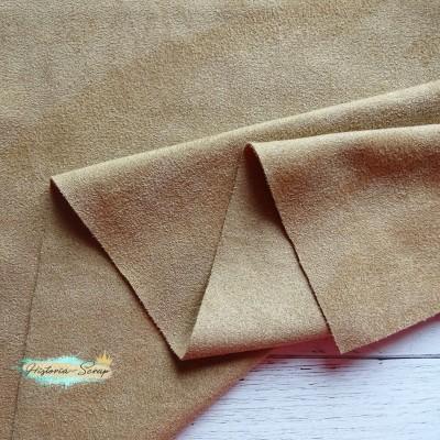 Замша искусственная двусторонняя, цвет светло-коричневый, 6 х 6 см