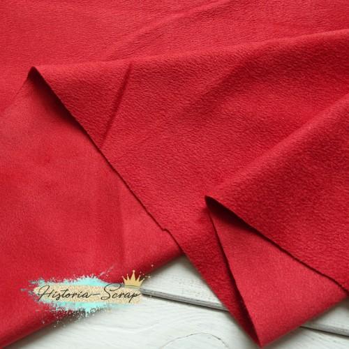Замша искусственная двусторонняя, цвет красный, 29 (30)*50 см