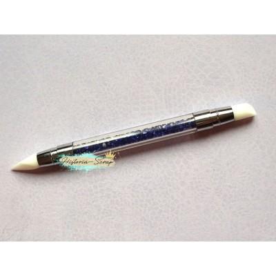 Кисть силиконовая для клея, узкая, цвет ручки - прозрачный+синий, см