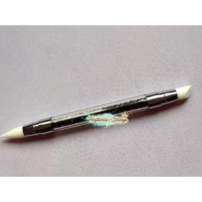 Кисть силиконовая двусторонняя для клея, узкая, цвет ручки - прозрачный+черный, 13 см
