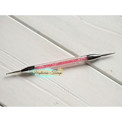 Дотс двусторонний для тиснения замшей,130 мм, d=0,05/0,1см, цвет розовый
