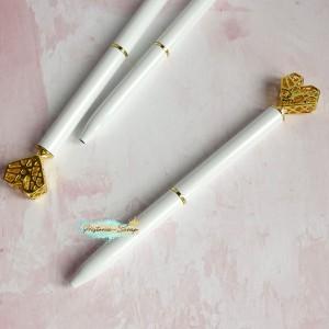 """Ручка шариковая """"Алмазное Сердце"""", цвет белый+золото"""