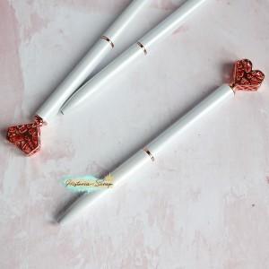 """Ручка шариковая """"Алмазное Сердце"""", цвет белый+розовое золото"""