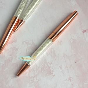 Ручка шариковая с кристаллами, цвет розовое золото