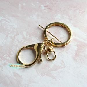 Крепление для подвесок - кольцо+лобстер, цвет золото
