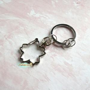 Крепление для подвесок - кольцо+Цветок (скоба), цвет серебро