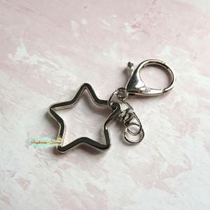 Крепление для подвесок - кольцо Звезда+лобстер, цвет серебро