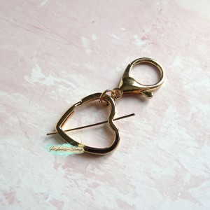 Крепление для подвесок - кольцо Сердце+лобстер, цвет золото