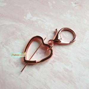 Крепление для подвесок - кольцо Сердце+лобстер, цвет розовое золото