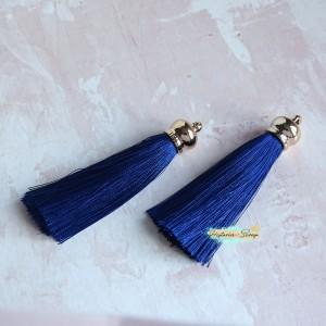 Подвеска-кисточка золотая, цвет королевский синий, длина 8см