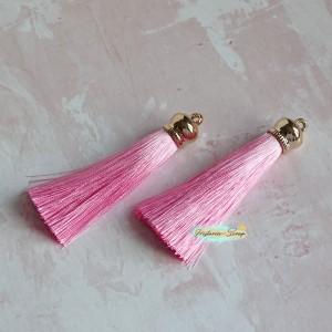 Подвеска-кисточка золотая, цвет розовый, длина 8см