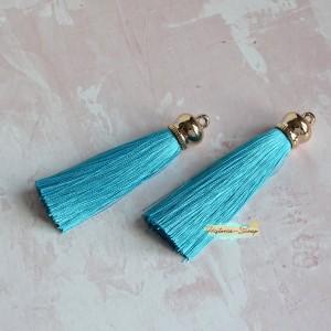 Подвеска-кисточка золотая, цвет голубой, длина 8см