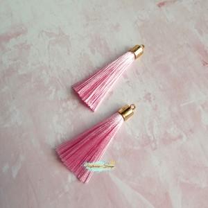 Подвеска-кисточка золотая, цвет светло-розовый, длина 6 см