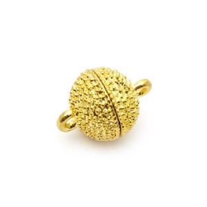 Замок магнитный фактурный, цвет золото, диам. 8 мм, 1 полусфера = 1/2 шт