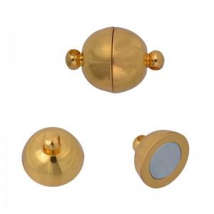 Замок магнитный, цвет золото, диам. 8 мм, 1 полусфера = 1/2 шт