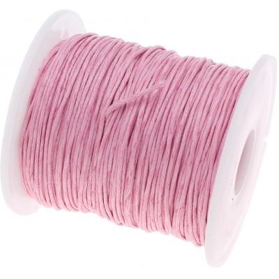 Шнур вощеный 100% хлопок, цвет светло-розовый, 1 мм
