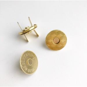 Кнопка магнитная, цвет золото, диам. 14 мм, толщ. (общая) 3 мм