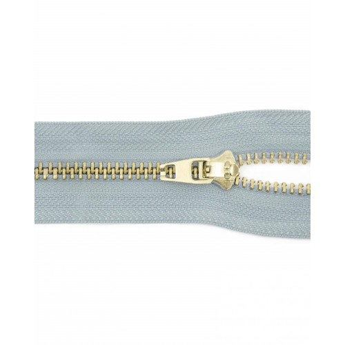 Молния неразъемная №5 золото, 18 см, цвет серо-голубой