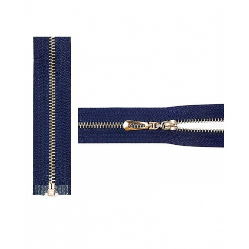 Молния разъемная Т3 золото, 50 см, цвет синий