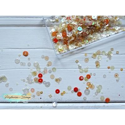 Пайетки круглые диам. 3-6 мм, цвет микс, тон бежевый + оранжевый, 2,5 гр.