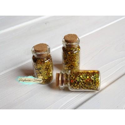 Пайетки в баночке Звезды диам. 2-4 мм, цвет золото, 5 гр.