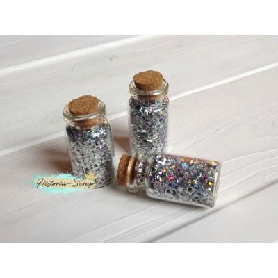 Пайетки в баночке Звезды диам. 2-4 мм, цвет серебро, 5 гр.