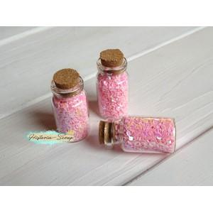 """Пайетки в баночке """"Полумесяц"""" диам. 3 мм, цвет розовый, 5 гр."""
