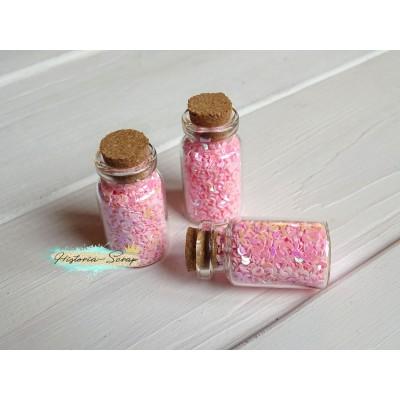 Пайетки в баночке Полумесяц диам. 3 мм, цвет розовый, 5 гр.