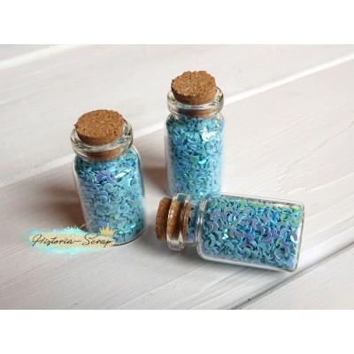 Пайетки в баночке Полумесяц диам. 3 мм, цвет голубой, 5 гр.