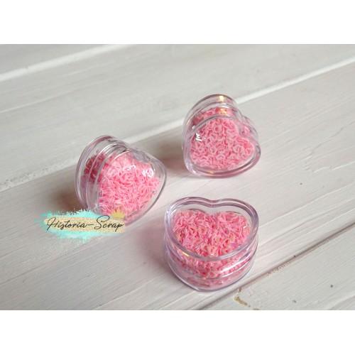 Пайетки в коробочке Сердечки диам. 3-4 мм, цвет розовый, 5 гр.
