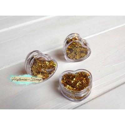 Пайетки в коробочке Сердечки диам. 3-4 мм, цвет золото, 5 гр.