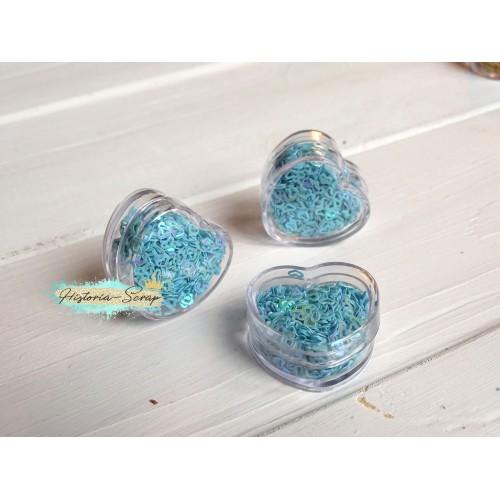 Пайетки в коробочке Сердечки диам. 3-4 мм, цвет голубой, 5 гр.