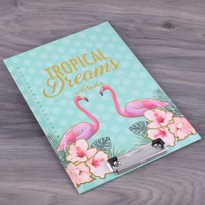 """Планшет картонный А4 """"Tropical Dreams"""" с фольгированием, цвет мята + розовый, 1 шт"""