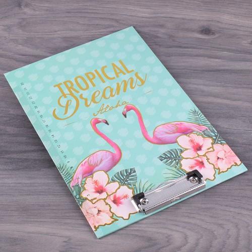 Планшет картонный А4 Tropical Dreams с фольгированием, цвет мята + розовый, 1 шт