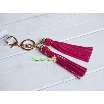 """Подвеска """"Кисточки"""" из кожзама, цвет темно-розовый + золото, длина 18 см, 1 шт"""