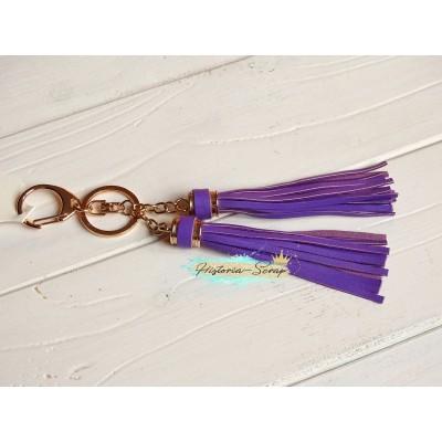 Подвеска Кисточки из кожзама, цвет фиолетовый + золото, длина 18 см, 1 шт